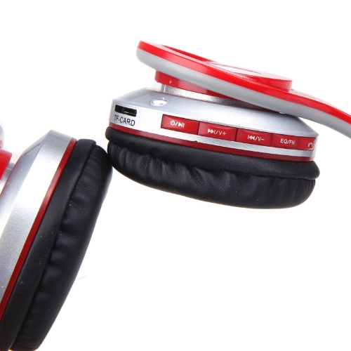 Foldable Wireless BT Stereo Headphone Headset Mic FM TF Slot for iPhone iPad PC Red