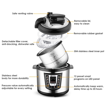 COOKJOY YBW60 - 100H Stainless Steel Electric Pressure Cooker