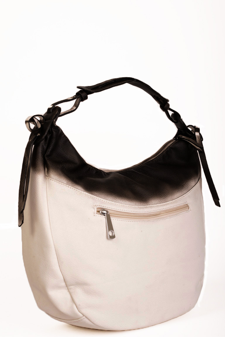 Contrasted Hobo Bag with top zip fastener