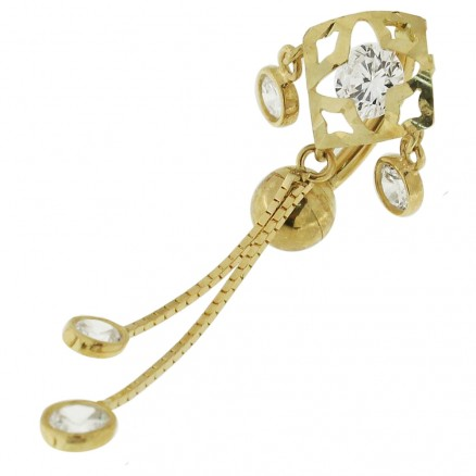 14K gold Belly Ring With Dangling Jeweled Giraffe