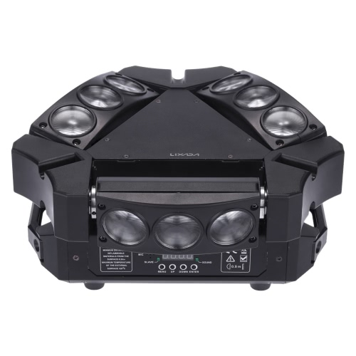 Lixada 90W 9LEDs RGBW Full Color DMX512 Sound Control Auto Rotating Stage Light