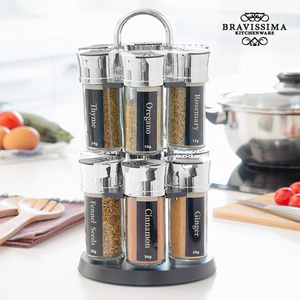 Bravissima Kitchen Spice Rack with 12 Spices