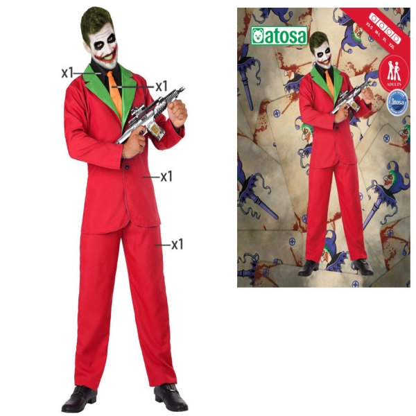 Costume for Adults Male clown Joker Red