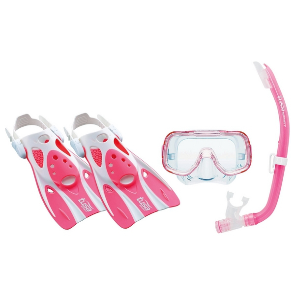 Diving Goggles with Snorkle and Fins Tusa Sport Mini Kleio Silicone Pink (Size s)