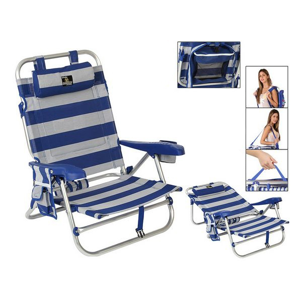 Folding Chair 118451 Aluminium White Blue (62 X 62 x 23/74 cm)
