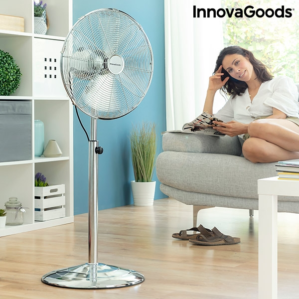 Freestanding Fan Chrome Retro InnovaGoods Ø 40 cm 55W