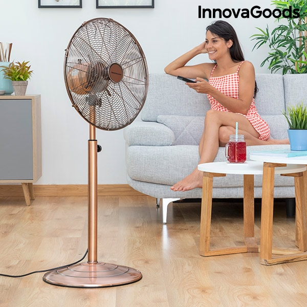 Freestanding Fan Copper Retro InnovaGoods Ø 40 cm 55W