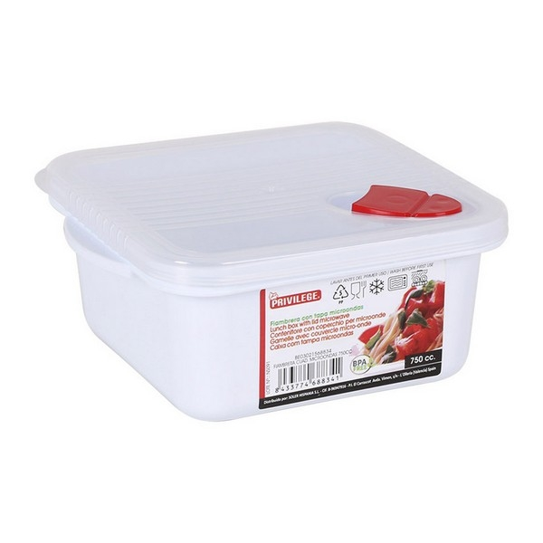 Lunch Box with Lid for Microwaves Privilege Squared White
