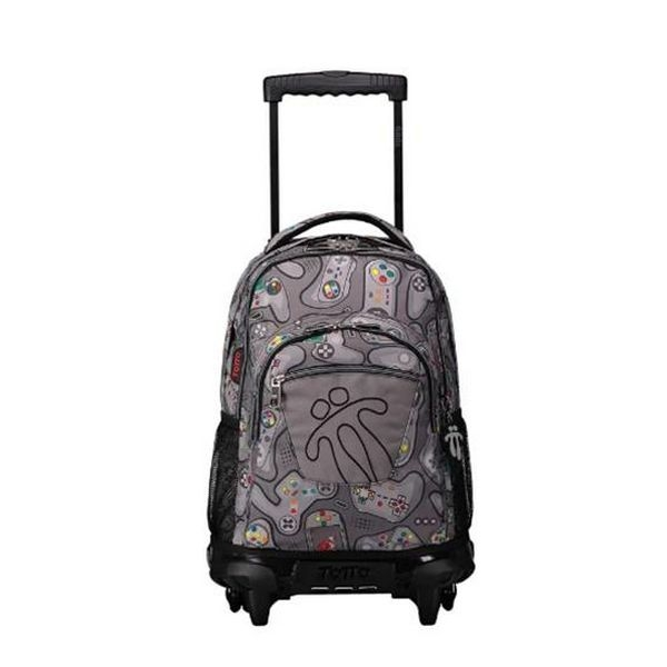 School Rucksack with Wheels Totto Rue Bomper Grey (52 X 37 x 25 cm)