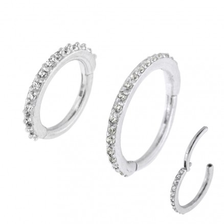 Micro Setting CZ Stones Hinged Segment Clicker Ring