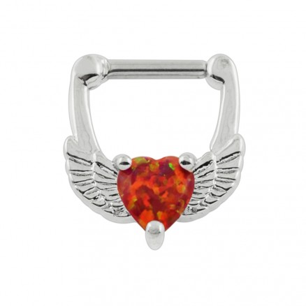 Synthetic Red Opal Heart Septum Clicker Piercing