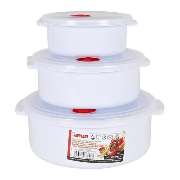 Set of Lunch Boxes with Lid for Microwaves Privilege Circular