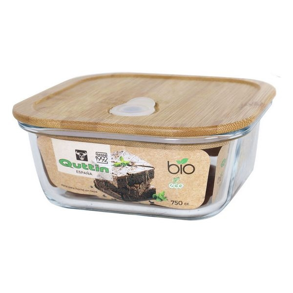 Square Lunch Box with Lid Quttin Bamboo 750 Cc