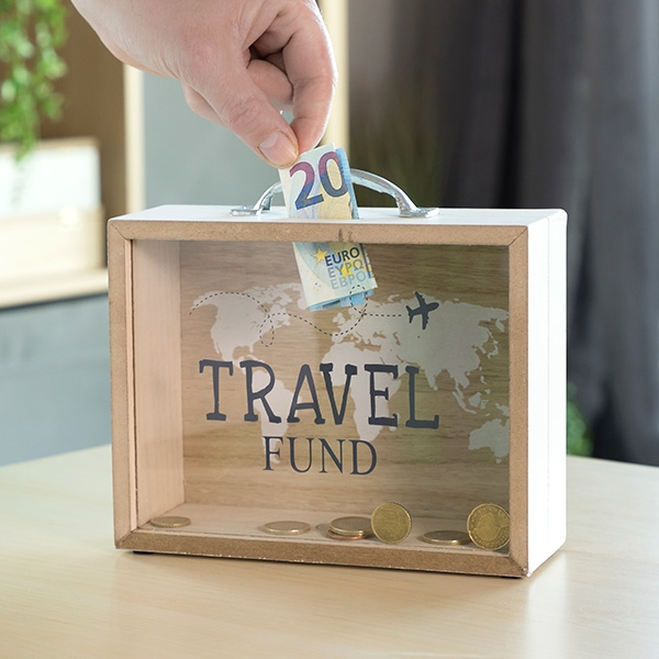 Travel Wooden Suitcase Money Box