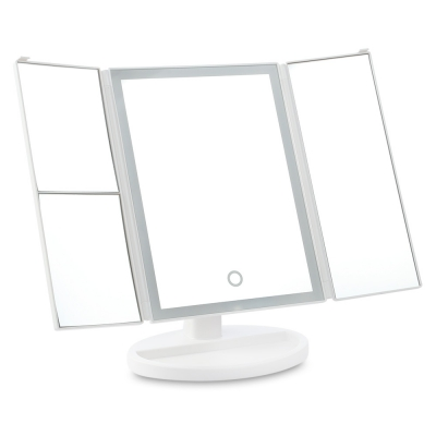 Tri-folded 2X 3X 10X Magnification LED Light Cosmetic Mirror