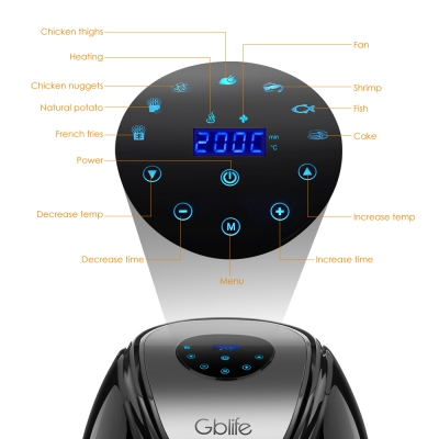 GBlife KAF1500P - D2 Electric Digital Air Fryer for Frying Grilling Roasting