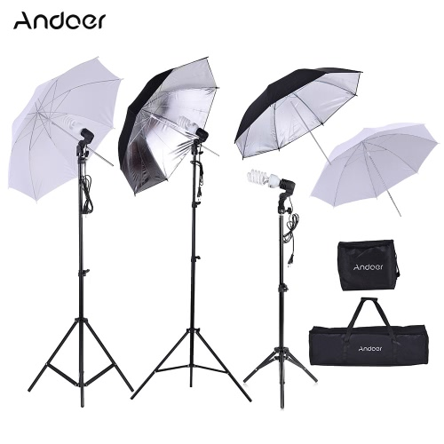 Andoer Photo Studio Kit 2 * 2m Light Stand + 3 * 45W Bulb + 2 * 83cm Translucent White Soft Umbrella +2 * 83cm Black&Silver Umbrella + 1 * 80cm Light Stand + 3 * Bulb Swivel Socket with 1 Bulb Storage Bag 1 Carrying Bag