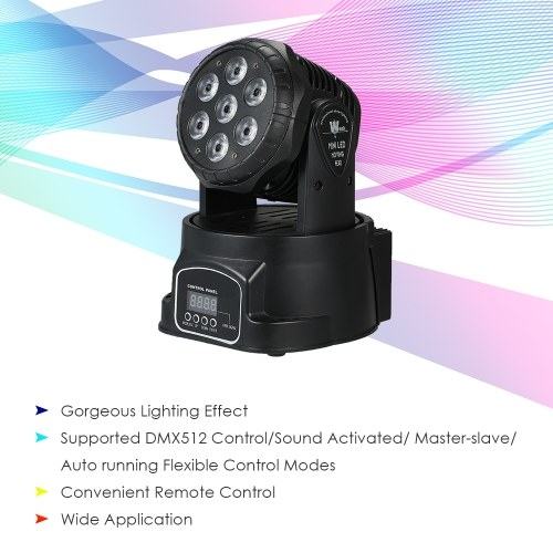 AC100-240V 105W 7 LEDs RGBW Stage Light with Remote Control