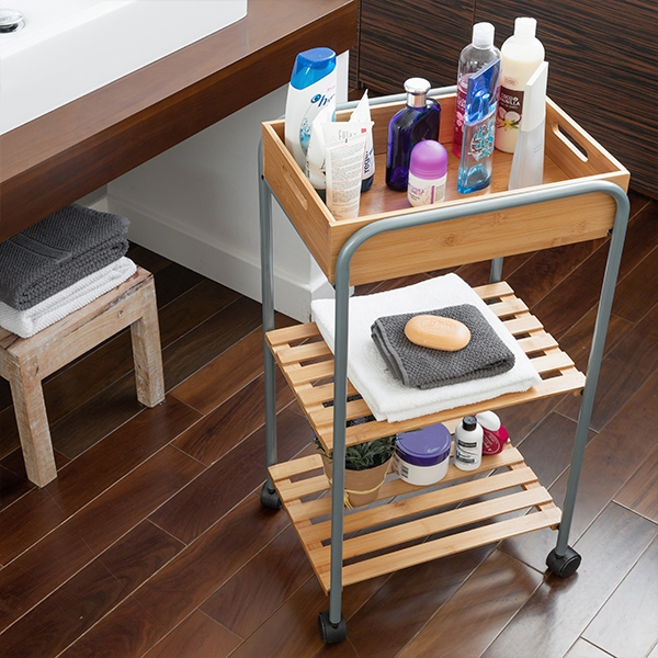 Bamboo Bathroom Organiser Trolley