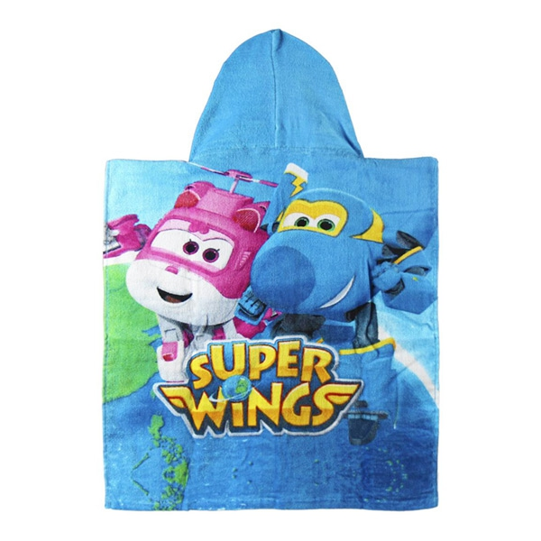 Blue Super Wings Hooded Poncho Towel