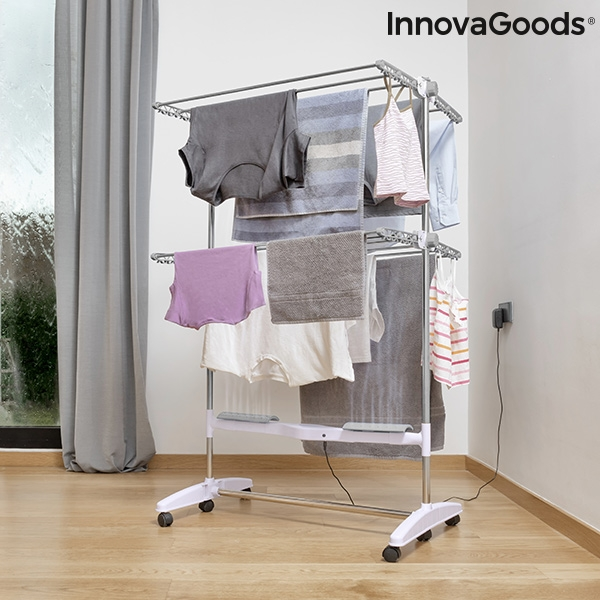 Folding Electric Drying Rack with Air Flow Breazy InnovaGoods (12 Bars) 24W