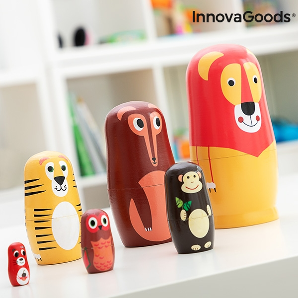 Matryoshka Wooden Animal Figures Funimals InnovaGoods 11 Pieces