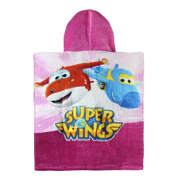 Pink Super Wings Hooded Poncho Towel