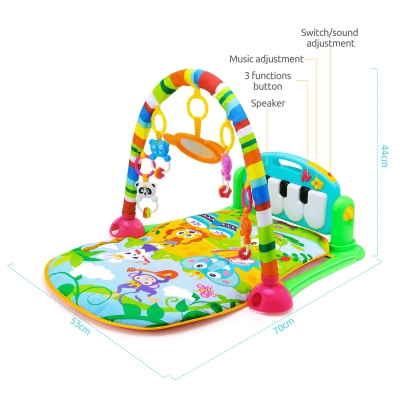 HE0603 Baby Piano Fitness Mat Newborn Educational Toy with Light / Music / 4 Animal Cartoon Rattles / 1 Small Mirror
