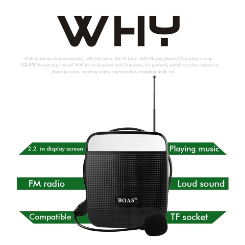 BOAS BQ-800 loudspeaker High Power Speaker Voice Amplifier Support FM Radio MP3 Player w / Microphone Black For Teachers Tour Guide Sales Promotion